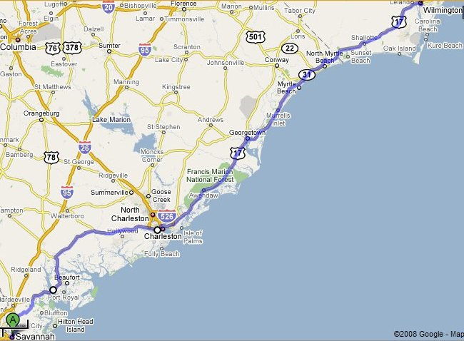 map, Savannah, GA, to Wilmington, NC in United States