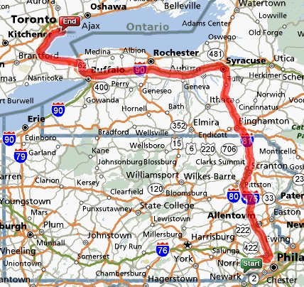 West Chester PA to TorontoON