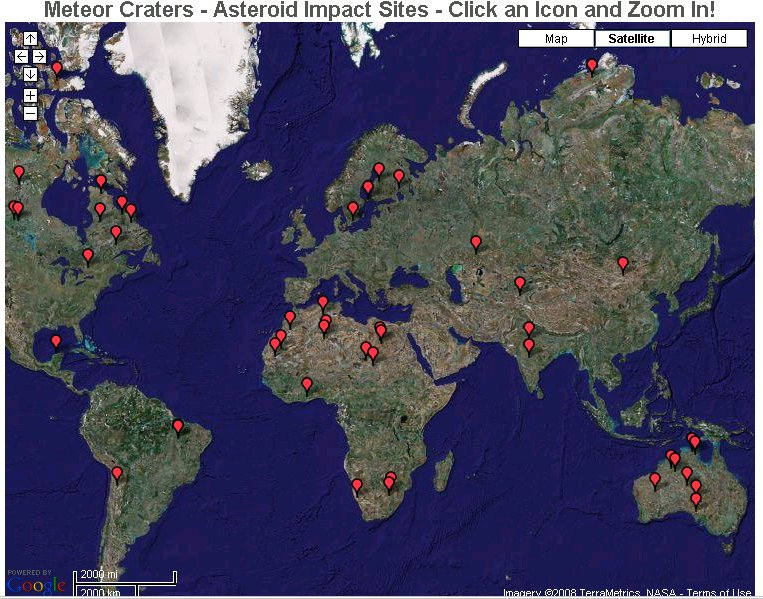 Google Maps Meteor Craters Science Notes - Google map satellite zoom