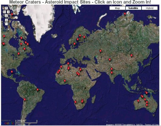 meteor and asteroid impacts on earth