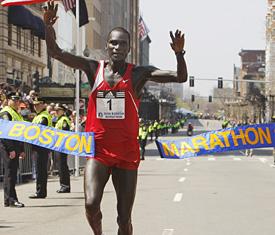 Robert Cheruiyot winning the 2008 Boston Marathon
