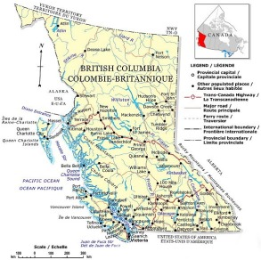 Map of British Columbia showing towns