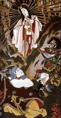 the Goddess Amaterasu enters the cave of night in Japanese Shinto myth