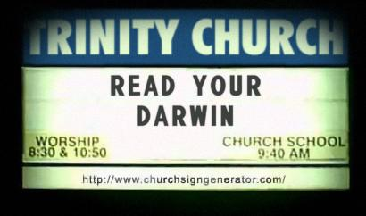 Fake church sign saying, Read Your Darwin