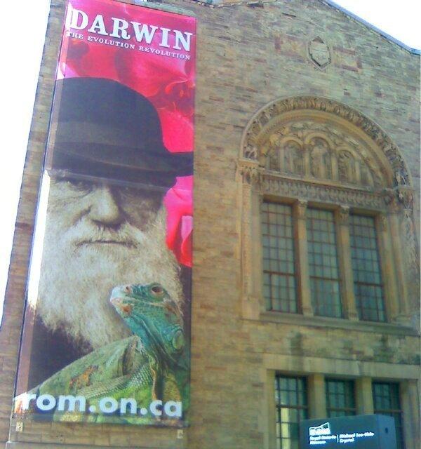 Royal Ontario Museum with Darwin banner