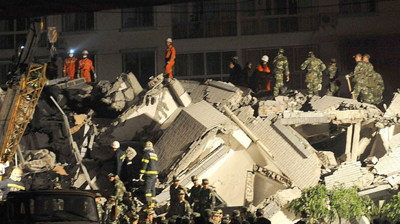 Chinese quake 2008 near Chengdu, ruins of a hospital