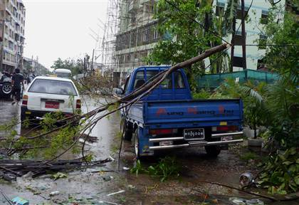 fallen trees in Yangon, capital of Myanmar, after Cyclone Nargis 2008