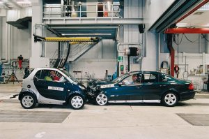 Smart Fortwo car in crash test
