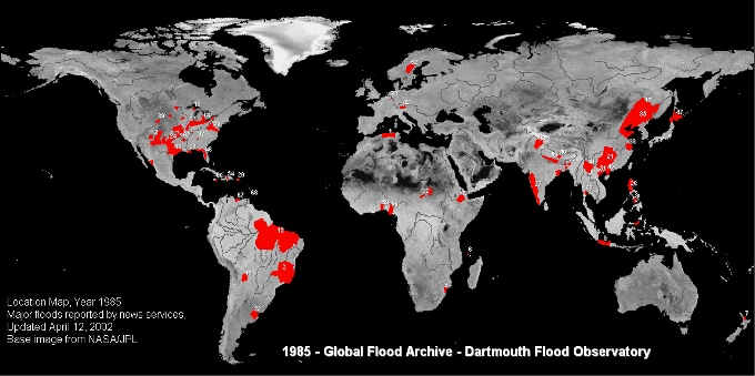 Floods, world map, 1985