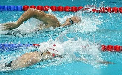 Semifinals, men's 200m freestyle, Brent Hayden & Colin Russell of Canada