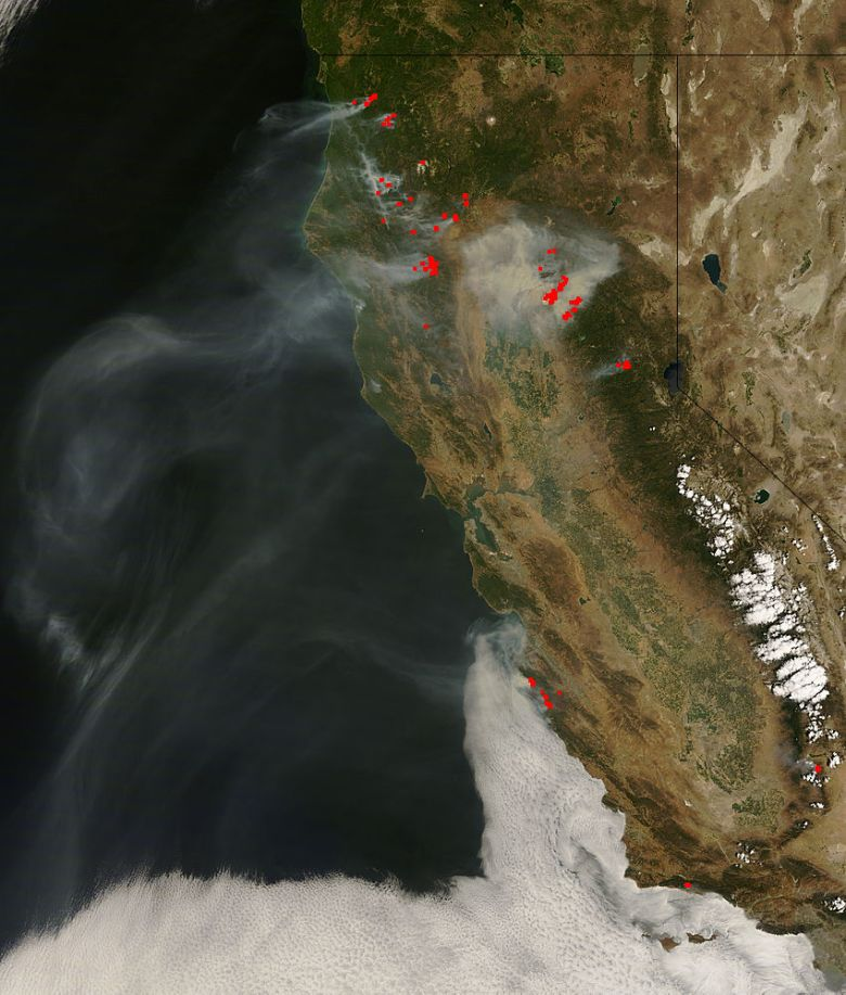 California wildfires from space