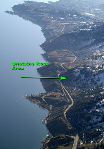 Lake Okanagan, looking south along Highway 97