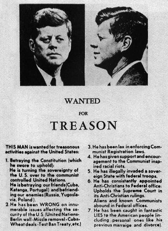 Treasonous poster calling Kennedy a traitor
