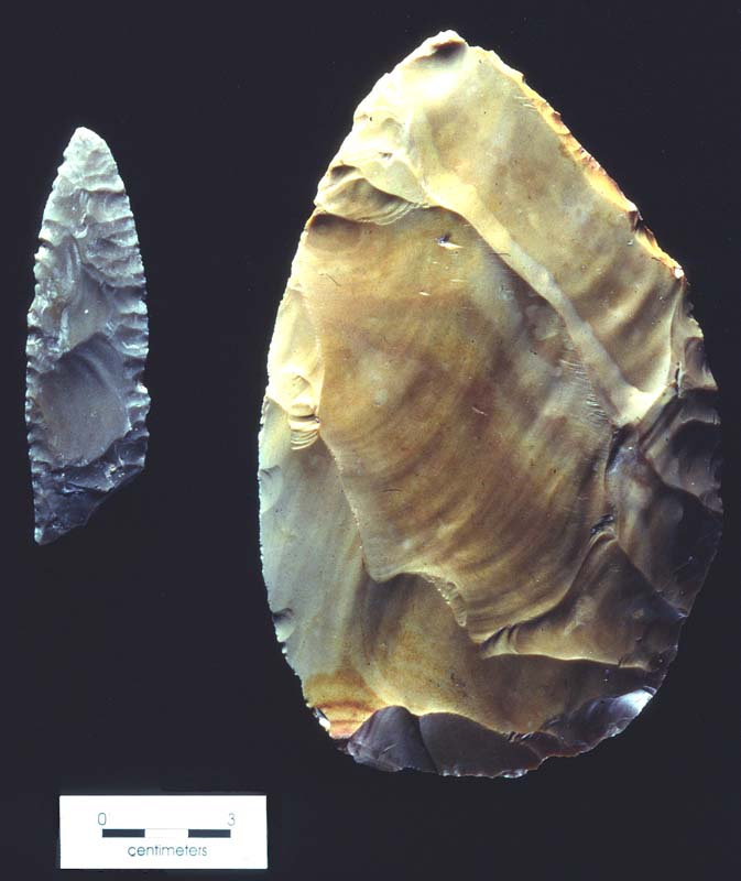 Left, Clovis point right, biface