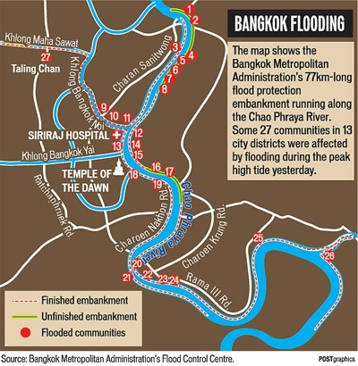 map of city of Bangkok with winding river through it