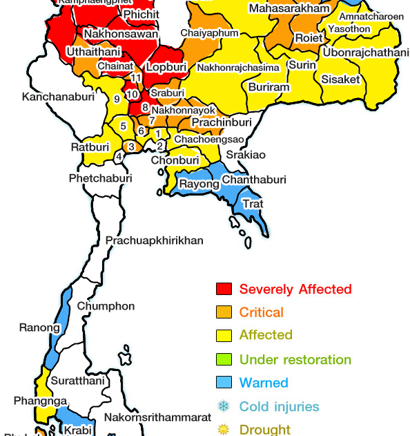partial map ofT hailand with northen sections flooded