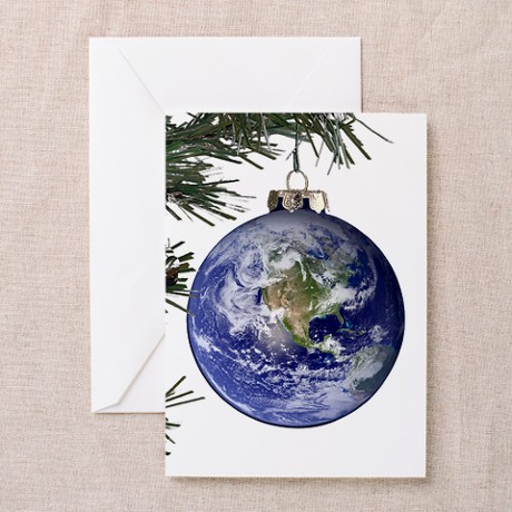Card shows a christmas bulb that looks like the Earth seen from space