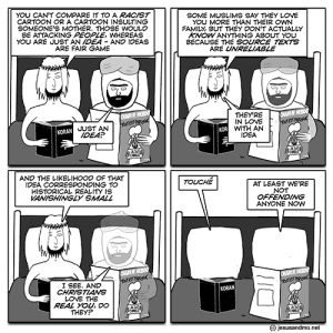 A cartoon shows four panels of Jesus and Mohammed in bed, reading and talking